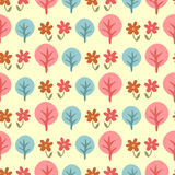Modelo inconsútil lindo con los árboles y las flores Imagen de archivo