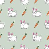 Modelo inconsútil lindo con los conejos y las zanahorias lindos Ilustraci?n del vector Para las materias textiles, tarjetas, deco stock de ilustración