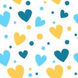 Modelo inconsútil lindo con los corazones amarillos y azules, puntos Los bebés forman, repiten papel pintado Ilustración del vect ilustración del vector