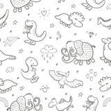 Modelo inconsútil lindo con los dinosaurios divertidos Ilustración del vector Foto de archivo libre de regalías