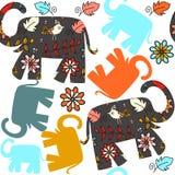 Modelo inconsútil lindo con los elefantes y modelo inconsútil en la SWA Fotos de archivo