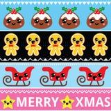 Modelo inconsútil lindo de Kawaii de la Navidad con los caracteres felices fotografía de archivo