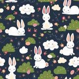Modelo inconsútil lindo de los niños del vector de los conejitos de pascua Conejito lindo, huevos de Pascua, flores, nubes en fon libre illustration