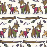 Modelo inconsútil lindo del vector de la historieta de los ciervos y de la gama Teja exhausta de la fauna del bosque de la mano stock de ilustración