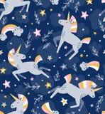 Modelo inconsútil mágico del vector del unicornio Diseño divertido de los niños para la tela stock de ilustración