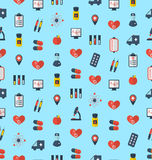 Modelo inconsútil médico, iconos coloridos simples planos Foto de archivo libre de regalías