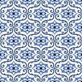Modelo inconsútil magnífico de las tejas marroquíes, portuguesas florales coloridas, Azulejo, ornamentos ilustración del vector