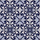Modelo inconsútil magnífico del remiendo de las tejas azul marino y blancas, ornamentos Imagenes de archivo