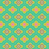 Modelo inconsútil marroquí adornado colorido verde hermoso con diseños florales coloridos stock de ilustración