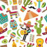 Modelo inconsútil mexicano Imágenes coloreadas de diversos símbolos mexicanos ilustración del vector