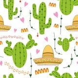 Modelo inconsútil mexicano lindo con el cactus, sombrero en colores verdes, amarillos, rosados y blancos Fondo natural del vector Foto de archivo