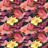 Modelo inconsútil militar con las flores tropicales Fondo del camuflaje Textura de la moda de Camo Soldado americano ilustración del vector