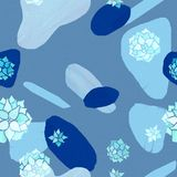 Modelo inconsútil minimalista abstracto El pastel y el azul marino forma con las plantas del echeveria de la acuarela en fondo az