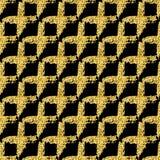 Modelo inconsútil moderno con la tela escocesa cruzada brillante del cepillo Color metálico del oro en fondo negro textura de oro Foto de archivo