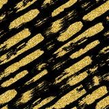 Modelo inconsútil moderno con las rayas y los movimientos del cepillo del brillo Color de oro en fondo negro Granero pintado a ma Imagenes de archivo