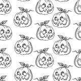 Modelo inconsútil monocromático gráfico de Halloween de la calabaza en blanco y negro libre illustration
