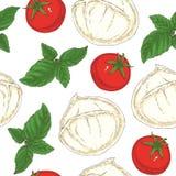 Modelo inconsútil Mozzarella, tomates y albahaca Imágenes de archivo libres de regalías
