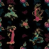 Modelo inconsútil Muchachas del vintage Señoras hermosas en equipos y sombreros del vintage Ramo de rosas Flores Estilo de la ven stock de ilustración