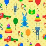 Modelo inconsútil multicolor con los juguetes Fotografía de archivo libre de regalías