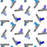 Modelo inconsútil multicolor de pistolas en un fondo blanco ilustración del vector