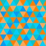 Modelo inconsútil, naranja y azul del triángulo geométrico abstracto Fotos de archivo libres de regalías