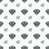 Modelo inconsútil negro con formas del diamante Modelo de la repetición del extracto del vintage en blanco y negro Imagen de archivo libre de regalías