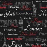 Modelo inconsútil negro con las ciudades populares Imágenes de archivo libres de regalías