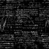 Modelo inconsútil, operaciones matemáticas y funciones elementales, fondo negro aritmético sin fin Imagen de archivo libre de regalías