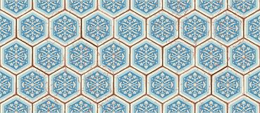 Modelo inconsútil oriental del vector Marroquí realista del vintage, tejas hexagonales portuguesas Imágenes de archivo libres de regalías