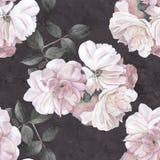 Modelo inconsútil oscuro de la acuarela de la flor de las rosas Foto de archivo libre de regalías