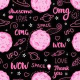 Modelo inconsútil oscuro del garabato del espacio Vector el ejemplo dibujado mano rosada aislado en fondo negro Imagen de archivo