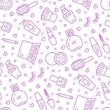 Modelo inconsútil púrpura del cuidado de la belleza del maquillaje con la línea plana iconos Ejemplos de los cosméticos del lápiz libre illustration