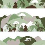 Modelo inconsútil Paisaje montañoso de la montaña con las plantas tropicales y los árboles, palmas, succulents Estilo escandinavo ilustración del vector