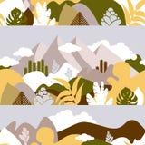 Modelo inconsútil Paisaje montañoso de la montaña con las plantas tropicales y los árboles, palmas, succulents Estilo escandinavo libre illustration