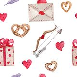 Modelo inconsútil para el día de tarjetas del día de San Valentín libre illustration