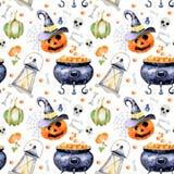 Modelo inconsútil para Halloween con imágenes de la acuarela de las cualidades del día de fiesta en el fondo blanco Libre Illustration