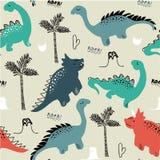 Modelo inconsútil para la ropa de la moda, tela, camisetas del dinosaurio infantil Vector dibujado mano con las letras ilustración del vector