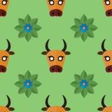 Modelo inconsútil para las materias textiles con las vacas y las flores en una luz, fondo verde Ejemplo del vector en estilo plan stock de ilustración