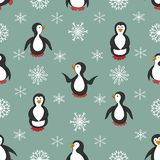 Modelo inconsútil Pingüinos y copos de nieve stock de ilustración