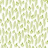 Modelo inconsútil pintado a mano del Watercolour Hojas del verde en el fondo blanco Uso para el papel de embalaje, materias texti fotografía de archivo
