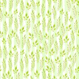 Modelo inconsútil pintado a mano del Watercolour Hojas del verde en el fondo blanco Uso para el papel de embalaje, materias texti imagen de archivo libre de regalías