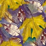 Modelo inconsútil pintado a mano Hojas de otoño del Watercolour elemento hermoso de la naturaleza Ilustración dibujo digital y ilustración del vector