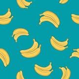 Modelo inconsútil, plátano en Azure Background Fotos de archivo libres de regalías