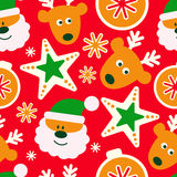 Modelo inconsútil plano de la Feliz Navidad del vector El modelo inconsútil se puede utilizar para los papeles pintados, terraple Fotos de archivo libres de regalías