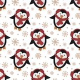 Modelo inconsútil por la Navidad y el Año Nuevo Ejemplo a mano del vector de un pingüino lindo en una bufanda roja y copos de nie fotografía de archivo libre de regalías
