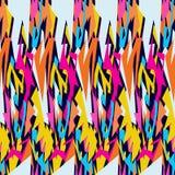 Modelo inconsútil psicodélico brillante de la pintada en un ejemplo negro del vector del fondo Foto de archivo libre de regalías