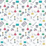 Modelo inconsútil químico del dibujo Cristalería y reactivo químicos Diseño plano Vector Fotos de archivo libres de regalías