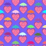 Modelo inconsútil que consiste en corazones alegres debajo de colorido um Fotografía de archivo