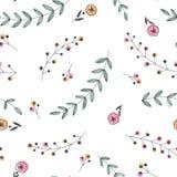 Modelo inconsútil que consiste en siluetas de ramas con las hojas y las flores Imágenes de archivo libres de regalías