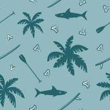Modelo inconsútil que practica surf tropical stock de ilustración